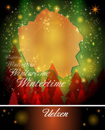 christmassy: Map of Uelzen in Christmas Design Stock Photo
