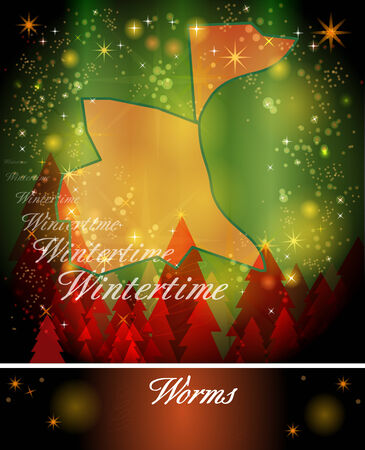 christmassy: Map of Worms in Christmas Design Stock Photo