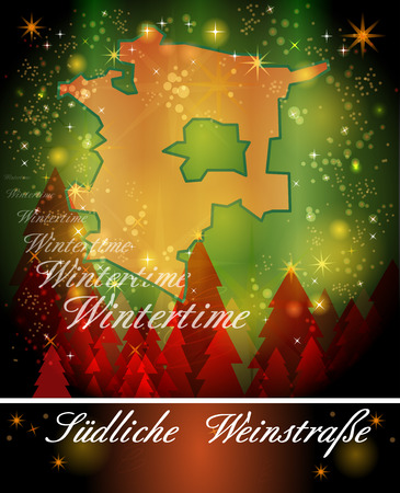 christmassy: Map of Southern Wine Road in Christmas Design Stock Photo