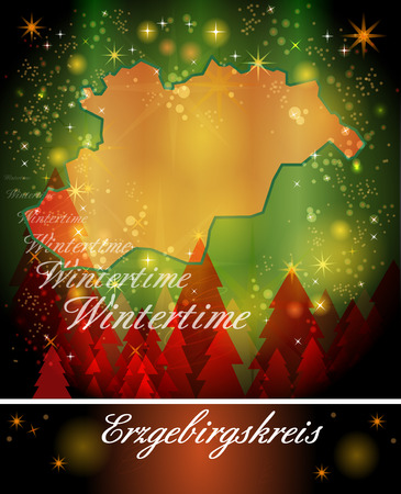 schneeberg: Map of Erzgebirgskreis in Christmas Design Stock Photo