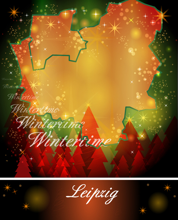 leipzig: Map of Leipzig in Christmas Design