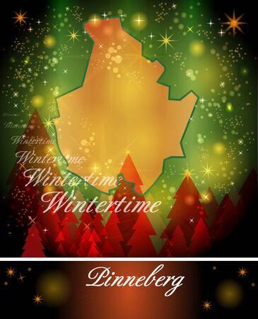 Map of Pinneberg in Christmas Design