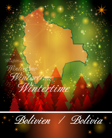 cochabamba: Map of Bolivia in Christmas Design