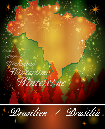 christmassy: Map of Brazil in Christmas Design Stock Photo