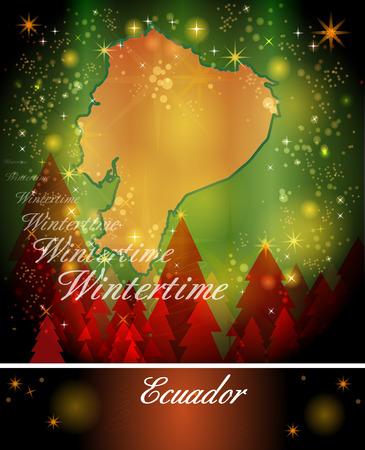 ecuador: Map of ecuador in Christmas Design