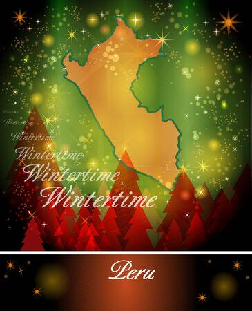 mapa del peru: Mapa de Per� en Dise�o de Navidad