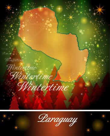 Map of Paraguay in Christmas Design Banco de Imagens