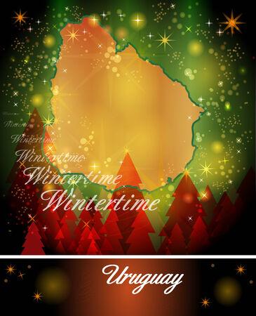 christmassy: Map of Uruguay in Christmas Design Stock Photo
