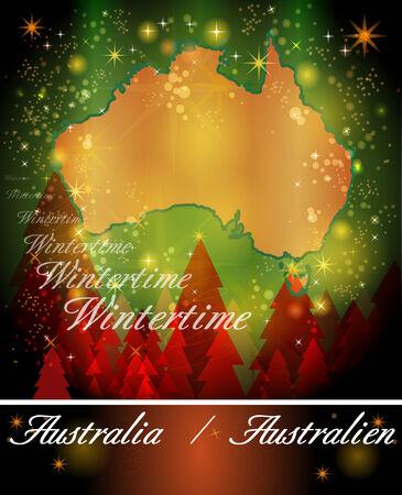 gold coast: Map of Australia in Christmas Design