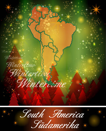 georgetown: Map of South America in Christmas Design