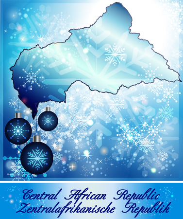 central african republic: Map of Central African Republic in Christmas Design in blue
