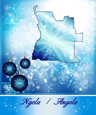 christmassy: Map of angola in Christmas Design in blue