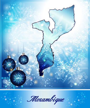 christmassy: Map of mozambique in Christmas Design in blue Stock Photo
