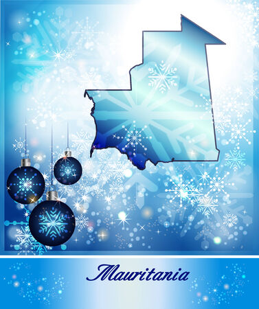 christmassy: Map of mauritania in Christmas Design in blue