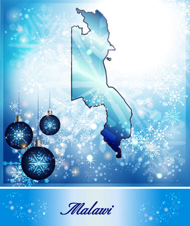 christmassy: Map of Malawi in Christmas Design in blue