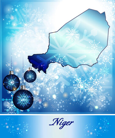 christmassy: Map of Niger in Christmas Design in blue Stock Photo