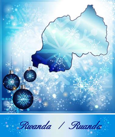 christmassy: Map of Rwanda in Christmas Design in blue
