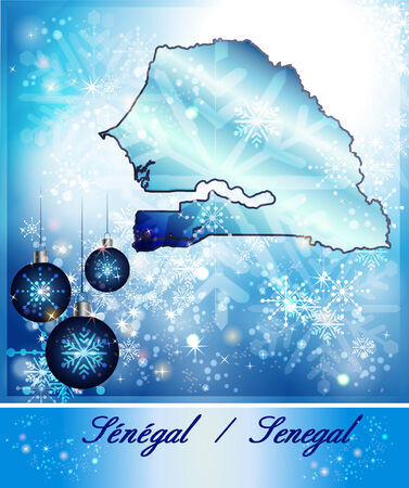 christmassy: Map of Senegal in Christmas Design in blue Stock Photo