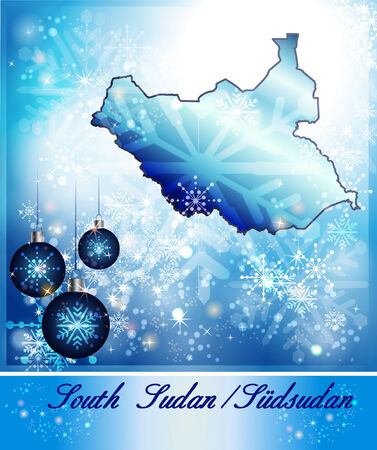south sudan: Map of South Sudan in Christmas Design in blue