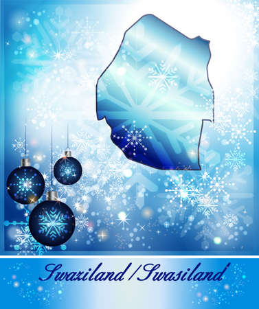 christmassy: Map of swaziland in Christmas Design in blue
