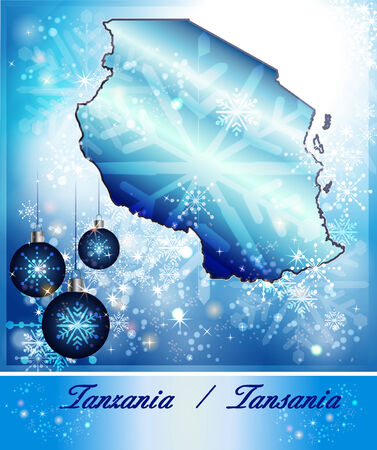 christmassy: Map of Tanzania in Christmas Design in blue