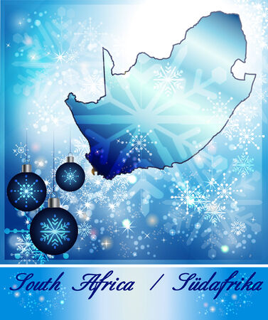 Map of south africa in Christmas Design in blue