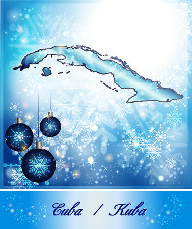 holguin: Map of Cuba in Christmas Design in blue