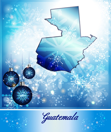 christmassy: Map of Guatemala in Christmas Design in blue