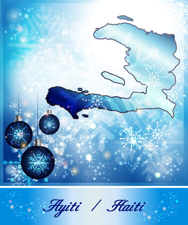 christmassy: Map of Haiti in Christmas Design in blue Stock Photo