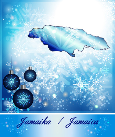 black maria: Map of Jamaica in Christmas Design in blue Stock Photo
