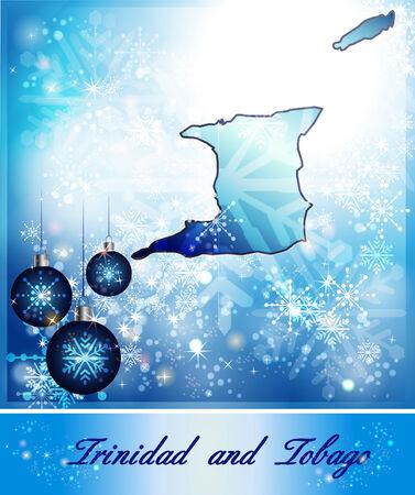 trinidad: Map of Trinidad and Tobago in Christmas Design in blue Stock Photo