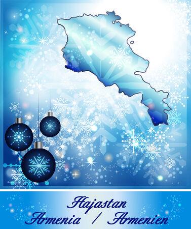 map of armenia: Map of Armenia in Christmas Design in blue