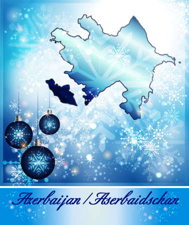 christmassy: Map of Azerbaijan in Christmas Design in blue