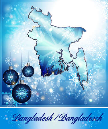 christmassy: Map of Bangladesh in Christmas Design in blue Stock Photo