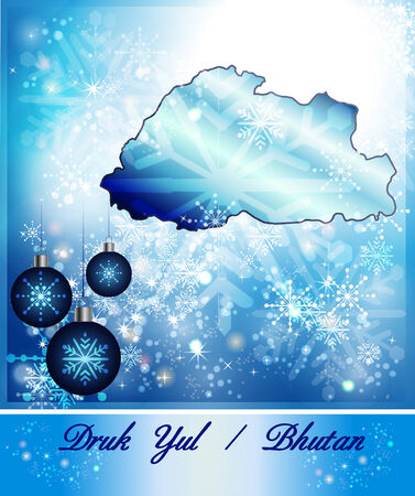 christmassy: Map of bhutan in Christmas Design in blue Stock Photo