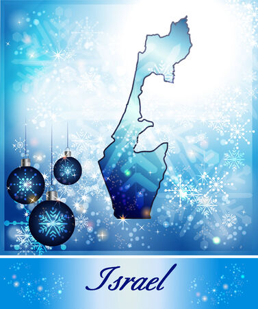 christmassy: Map of Israel in Christmas Design in blue