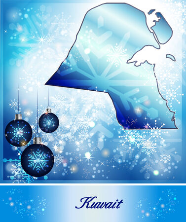 christmassy: Map of Kuwait in Christmas Design in blue Stock Photo
