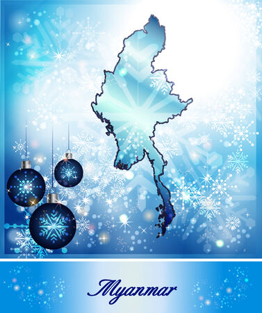 christmassy: Map of myanmar in Christmas Design in blue