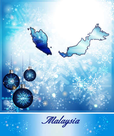 christmassy: Map of Malaysia in Christmas Design in blue