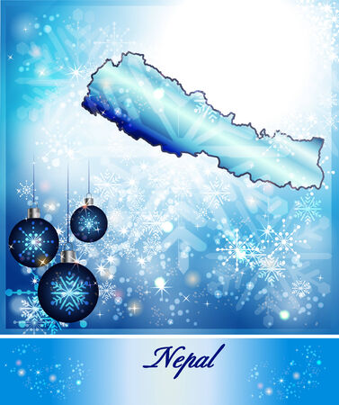 christmassy: Map of Nepal in Christmas Design in blue