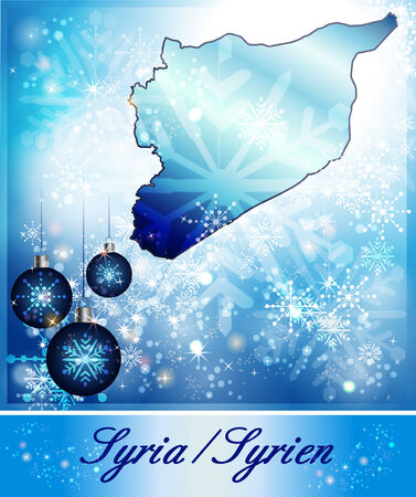 christmassy: Map of Syria in Christmas Design in blue