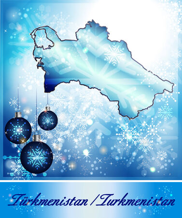 christmassy: Map of turkmenistan in Christmas Design in blue