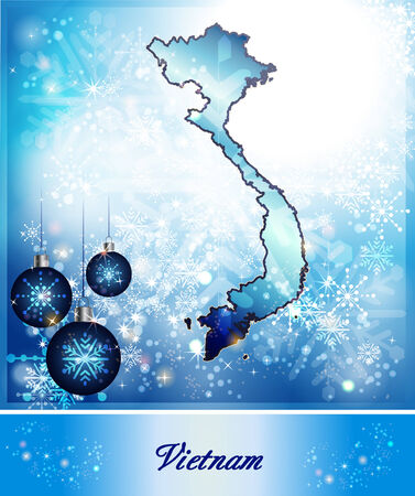 christmassy: Map of Vietnam in Christmas Design in blue Stock Photo