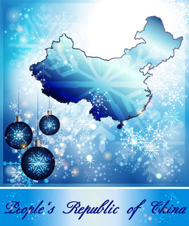 christmassy: Map of China in Christmas Design in blue Stock Photo