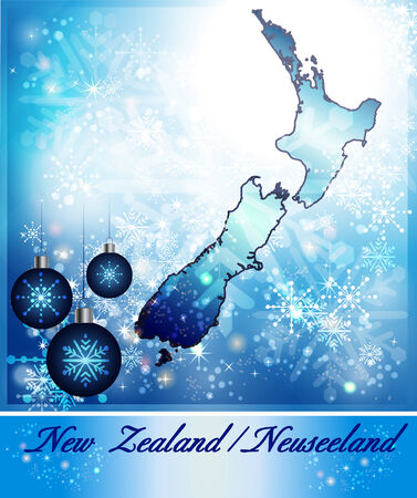hamilton: Map of new zealand in Christmas Design in blue
