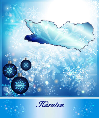 spittal: Map of kaernten in Christmas Design in blue