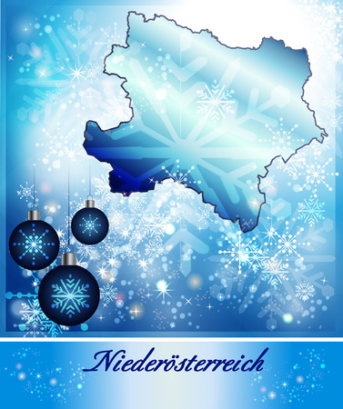 Map of Lower Austria in Christmas Design in blue photo