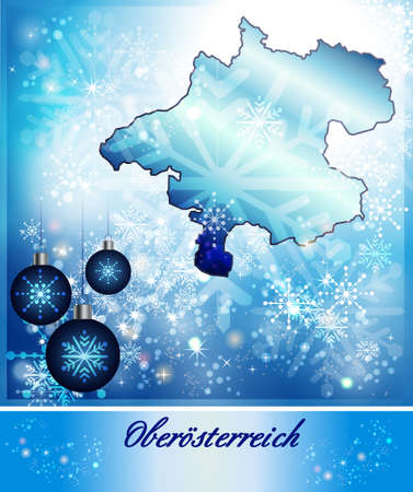 Map of upper Austria in Christmas Design in blue photo