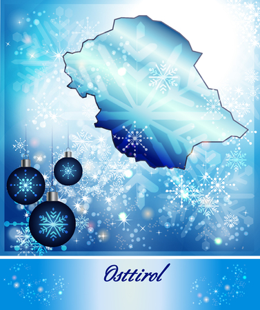 tyrol: Map of East Tyrol in Christmas Design in blue Stock Photo