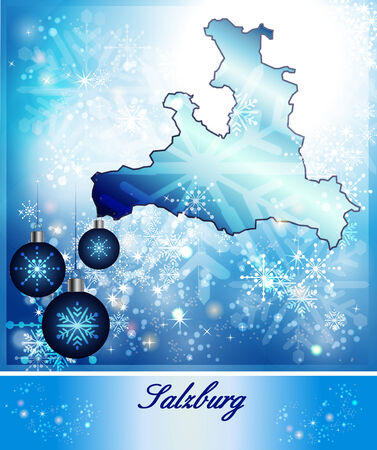 saalfelden: Map of salzburg in Christmas Design in blue